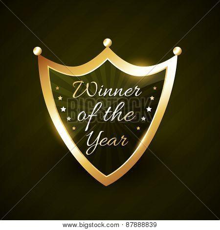winner of the year golden shiny label badge vector design