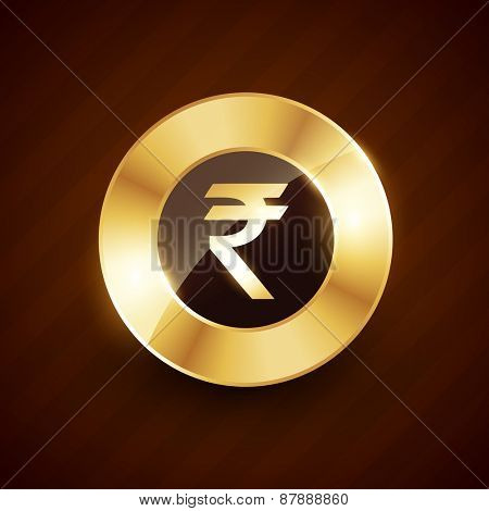 rupee golden coin design with shiny effects vector design