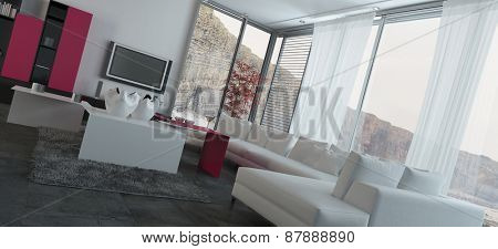Close up Fully Furnished Architectural Living Room Design with Transparent Glass Windows. 3d Rendering.