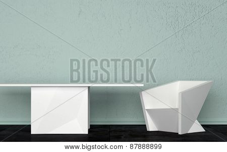 Three Dimensional Room Interior Design with White Table and Chair Against Light Green Wall. 3d Rendering.