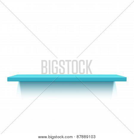 Blue realistic shelf isolated on white background.