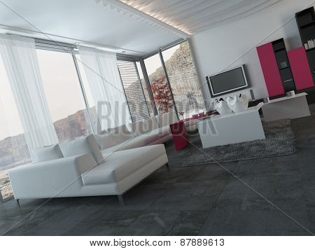 Close up Elegant Modern Architectural Living Room with White and Dark Pink Furniture. 3d Rendering.