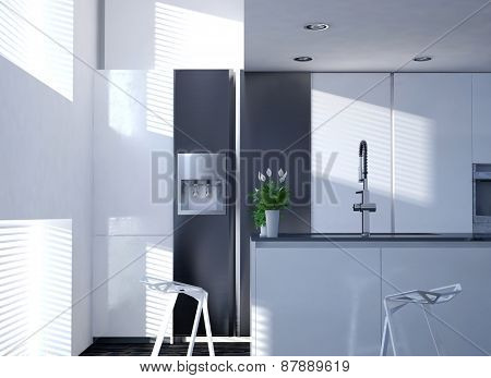 Clean White Modern Kitchen with Vase of Flowers on Counter and Sun Shining Through Blind Covered Windows. 3d Rendering.