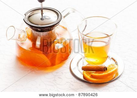 orange tea with cinnamon