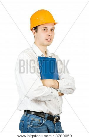 Businessman In Hard Hat With Documents