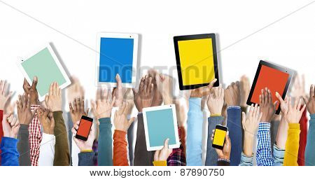 Group of Hands Holding Digital Devices Isolated on White