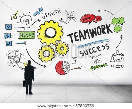 Teamwork Team Together Collaboration Businessman Aspiration Goal Concept