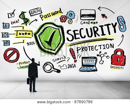 Businessman Looking up Security Protection Firewall Concept