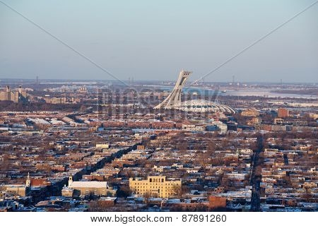MONTREAL, CANADA - JAN 16: Early evening light on the Olympic Stadium, Montreal. View of the city from Mont Royal. On January 16th 2015 in Montreal