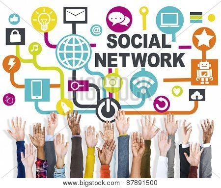 Arms Raised Technology Connection Communication Social Network Concept
