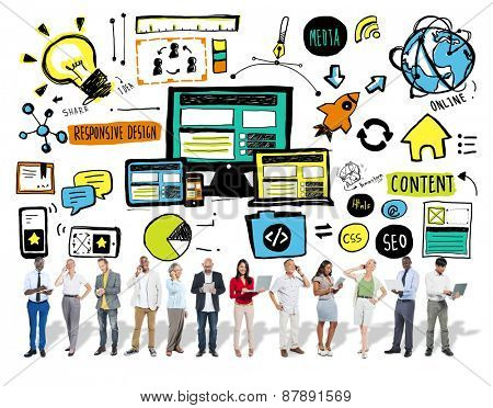 Business People Responsive Design Digital Communication Content Concept