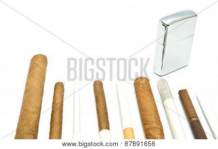 Cigars And Metal Lighter