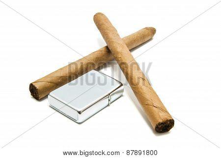 Cuban Cigars And Metal Lighter