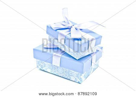 Two Blue Gift Boxes