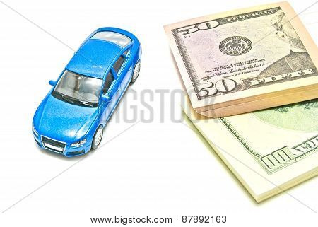 Dollar Notes And Blue Car On White
