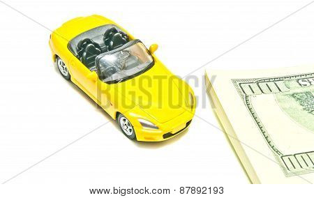 Yellow Car And Dollar Notes
