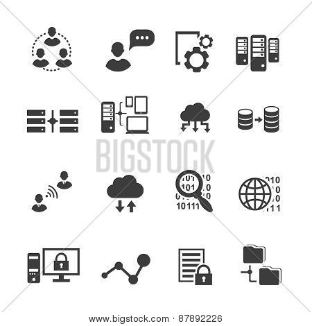 Big data icon set,  analytics, cloud computing. digital  processing