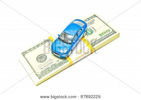 Blue Car On Dollar Notes On White