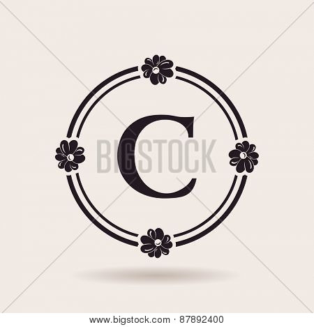 Vector frames design templates. Vintage labels and badges for logos. Alphabet letter C