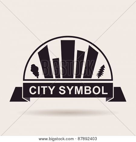 City logo buildings. Silhouette Vector icon design