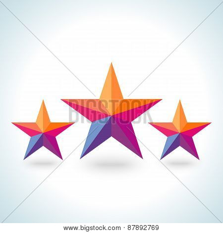 Bright colorful stars shape in modern polygonal crystal style
