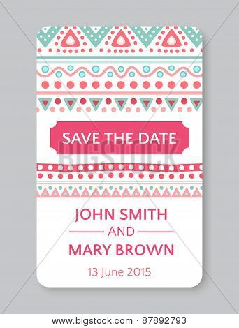 Perfect wedding template with doodles tribal theme