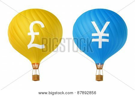 Color Currency Hot Air Balloons: Pound, Yen