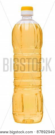 vegetable oil in a plastic bottle isolated on white background.