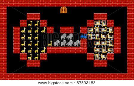 Train, Retro Style Game Pixelated Graphics