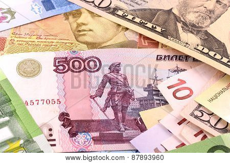 European And American Money Background
