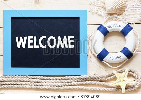 Welcome Text written on blackboard