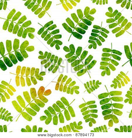 Vector Seamless Pattern With Watercolor Leaves. Good For Children's Stuff, Wrapping Paper, Scrapbook