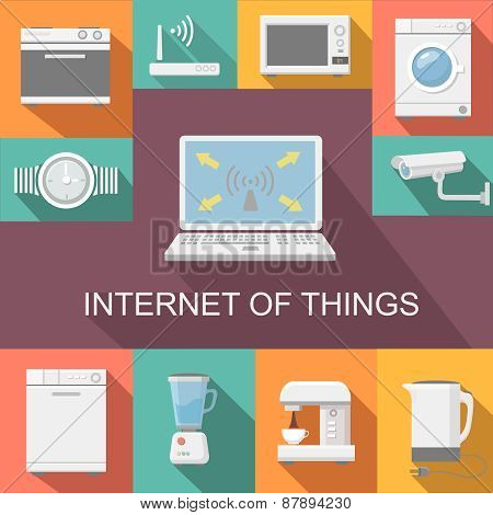 Internet of things computer remote control flat icons composition poster abstract isolated  illustra
