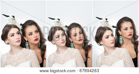 Hairstyle and make up - beautiful females art portrait. Elegance. Genuine natural brunettes