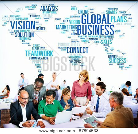 Global Business Connect Vision Solution Teamwork Success Concept