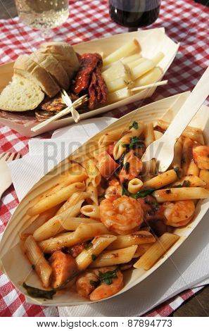 Penne With Seafood And Basil