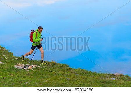 Nordic Walking On The Lake Shore