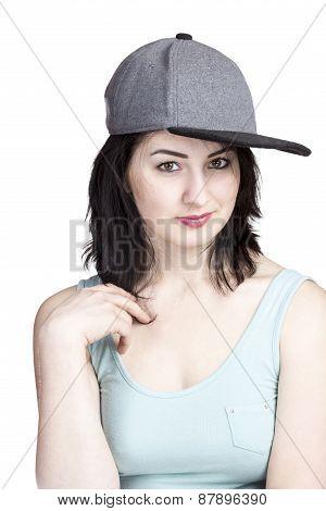 Portrait Of Girl In A Gray Baseball Cap