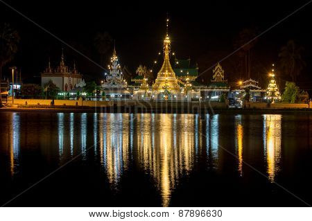 Famous Wat Jong Klang Temple At Night In Mae Hong Son, Thailand