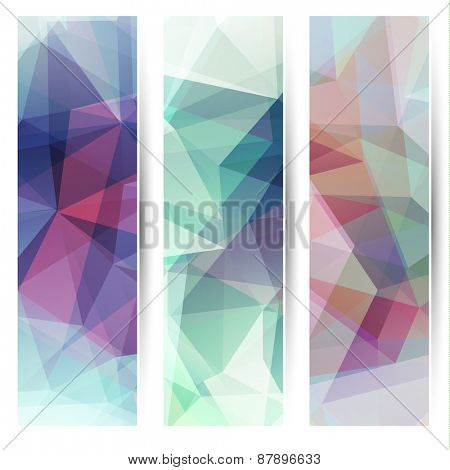 Abstract geometric polygonal background banners collection   - raster version