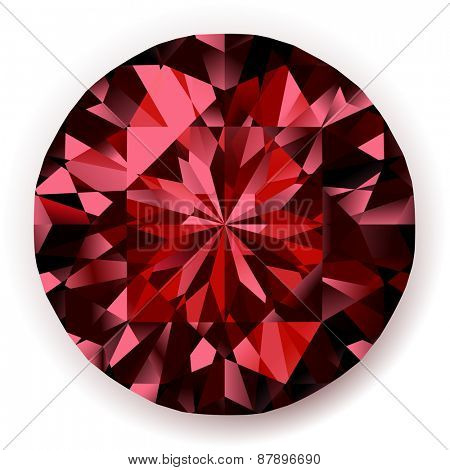 Shiny realistic ruby  on white background  - raster version
