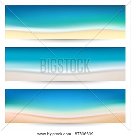 Summer holidays banners with coastline waves   - raster version
