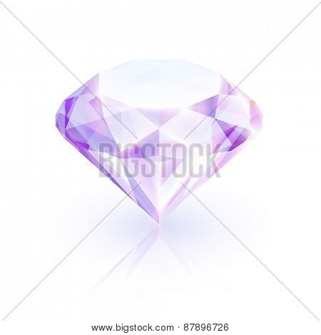Shiny ruby on white background  - raster version