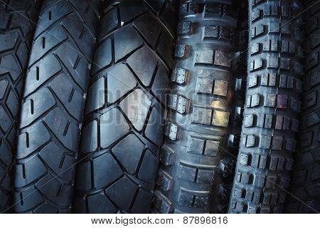 Motorcycle Tires, Stylized Toning Image.