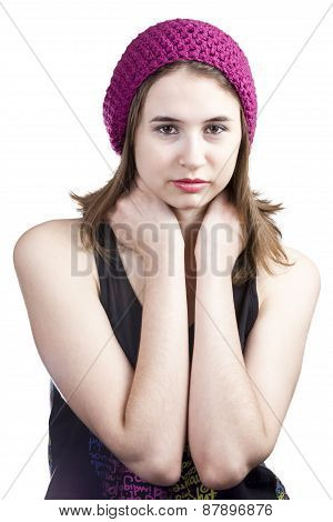 Portrait Of A Beautiful Girl With Brown Eyes In Hat