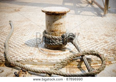 Rope Moored To The Pier