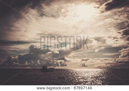 Fisherman's boat in a sea