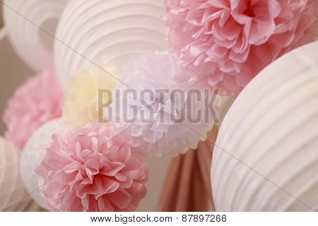 Bright Paper Flowers And Chinese Lantern