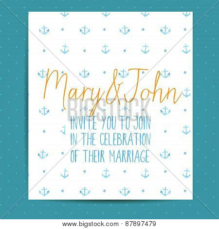 Wedding invitation template with blue anchors. Vector nautical layout with watercolor art.