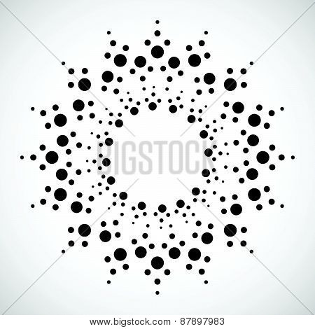 Concentric Dots, Circles. Dotted Abstract Element, Abstract Pattern On White